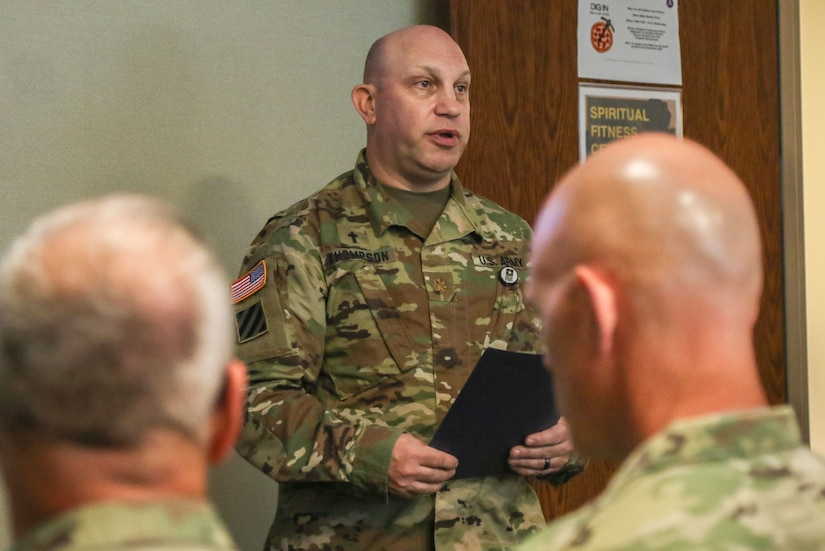 Maj. Jerry Thompson, U.S. Army Central Headquarters and Headquarters Battalion chaplain, speaks during USARCENT's Patriot Day service held at the command's headquarters, Patton Hall, Shaw Air Force Base, S.C., Sept. 11, 2019. The service allowed members of USARCENT to reflect and honor those whose lives were lost, and pay tribute to brave first responders.