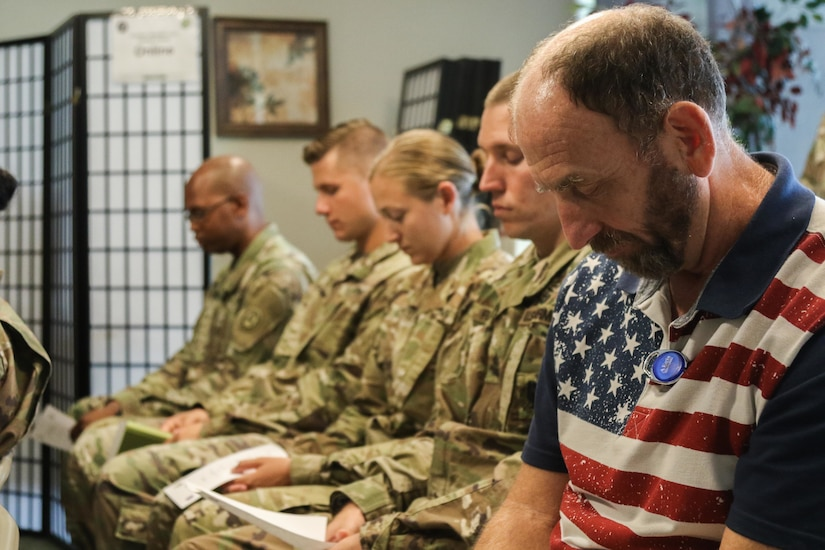 Members of U.S. Army Central P  observe a minute of silence during a 9/11 remembrance service held at the command's headquarters, Patton Hall, Shaw Air Force Base, S.C., Sept. 11, 2019. The service allowed members of USARCENT to reflect and honor those whose lives were lost, and pay tribute to brave first responders.
