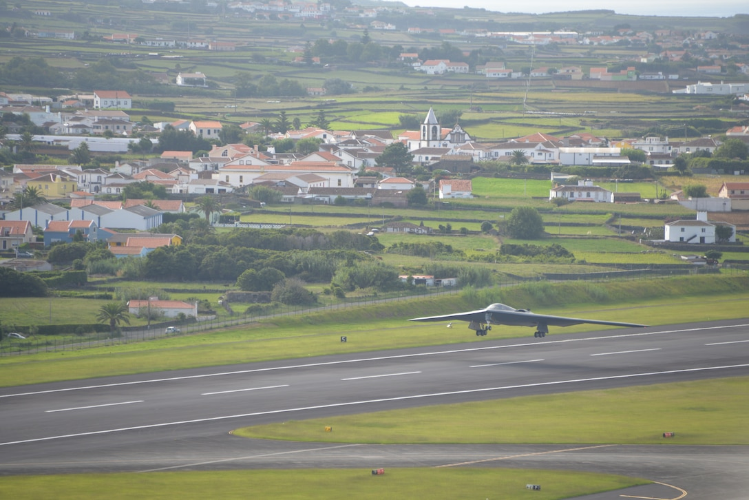 A B2 stealth bomber takes off from Lajes Field, Azores, Portugal. USSTRATCOM bomber missions provide opportunities to train and work with our allies and partners in joint and coalition operations and exercises.