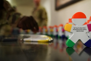 Supplies were displayed for people attending the 90th Missile Wing's Story Telling Event Sept. 10, 2019, at F.E. Warren Air Force Base, Wyo. The event was hosted on Suicide Prevention Day and aimed to raise awareness about suicide prevention. (U.S. Air Force photo by Joseph Coslett)