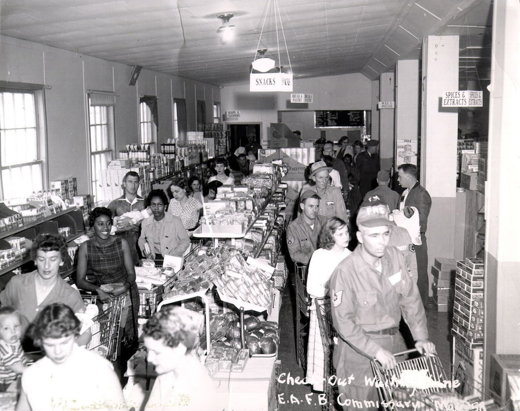 Patrons line up to check out their groceries at Ellsworth Air Force Base, South Dakota, in 1958. (Courtesy photo)