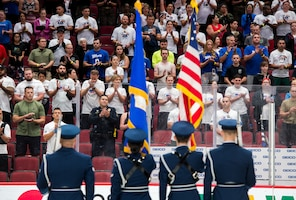 Luke Air Force Base Honor Guardsmen present the colors during the 9/11 Tower Challenge Sept. 11, 2019, at the Gila River Arena, Glendale, Ariz.