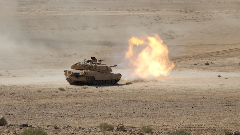 An M1A2 Abrams main battle tank from the 3rd Armored Brigade Combat Team, 4th Infantry Division, fires its 120mm gun downrange during a coalition combined arms live fire exercise, part of Eager Lion 2019, in Jordan, Sept. 5, 2019. The CALFEX was the culminating event of the multinational exercise, which saw up to 30 different countries participating in allied training scenarios that improved their collective ability to plan and operate in a coalition-type environment. In its ninth year, Eager Lion is U.S. Central Command's premiere exercise in the Levant region. (U.S. Army photo by Sgt. 1st Class Darron Salzer, Task Force Spartan)
