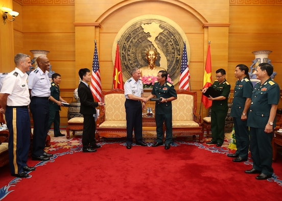 Air Force Chief of Staff Gen. David L. Goldfein and Gen. CQ Brown Jr., Pacific Air Forces Commander, met with senior Vietnamese officials in Hanoi, Vietnam, in August 2019. (U.S. Air Force photo)
