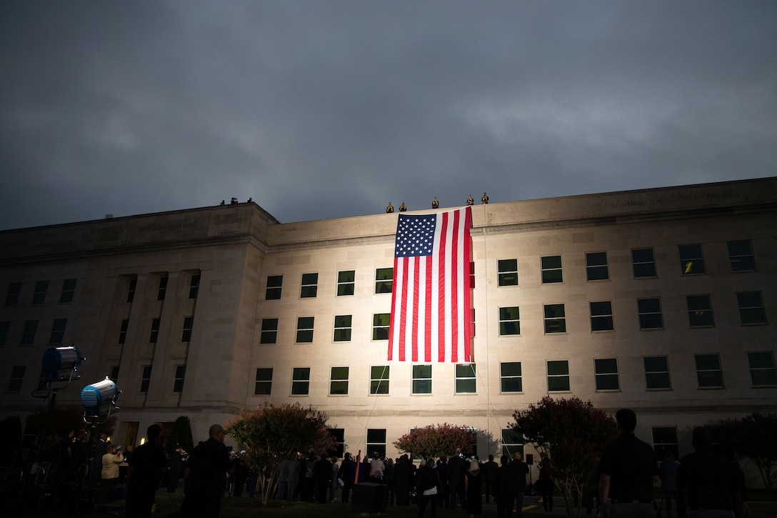 An American flag hangs from a Pentagon wall.
