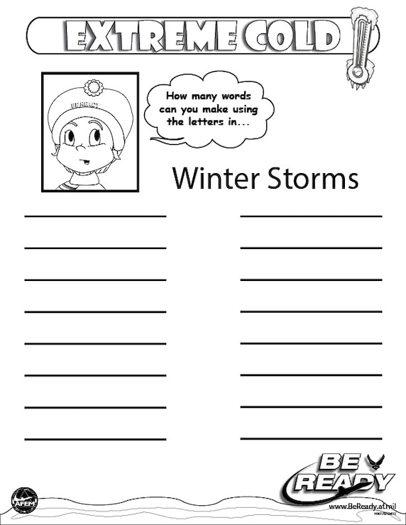 Activity Sheet Ages 4-7 on Extreme Cold for coloring