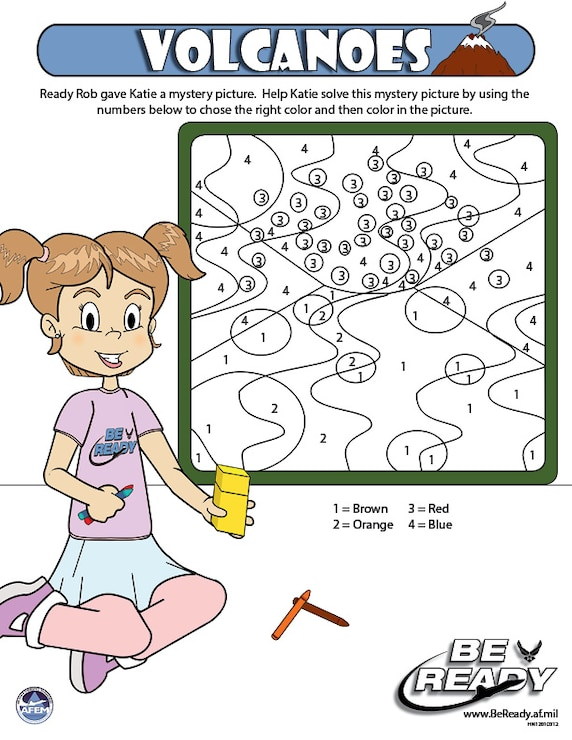 Activity Sheet Ages 4-7 on Volcanoes