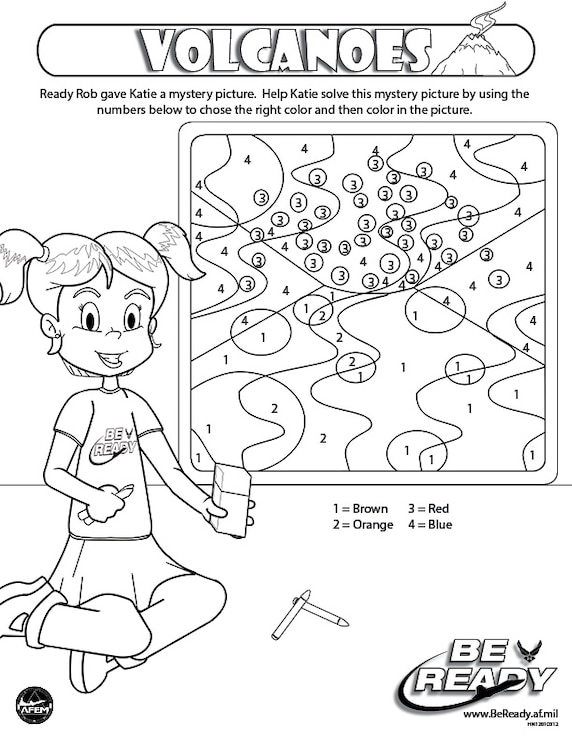 Activity Sheet Ages 4-7 on Volcanoes for coloring