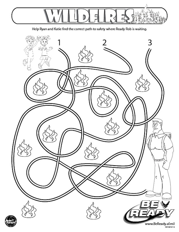 Activity Sheet Ages 4-7 on Wildfires for coloring