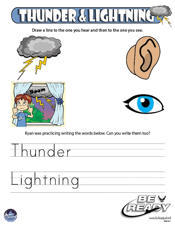 Activity Sheet Ages 4-7 on Thunder and Lightning