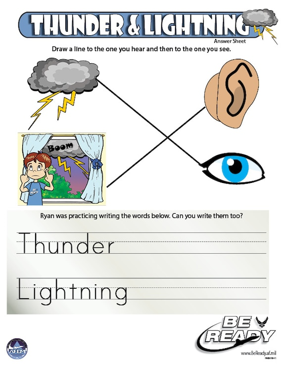 Answers Sheet to the Thunder and Lightning Kid Sheet ages 4-7