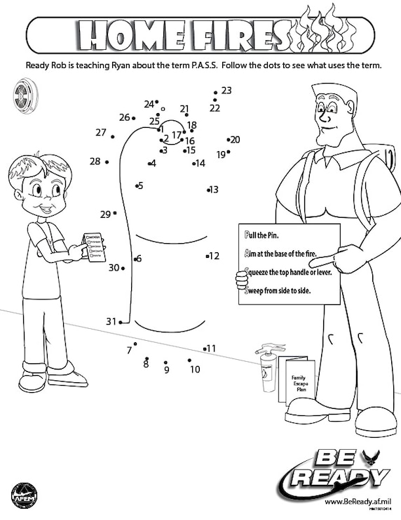 Activity Sheet Ages 4-7 on Home Fires for coloring