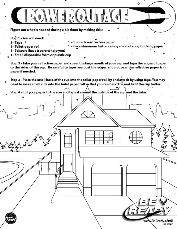 Activity Sheet ages 4-7 on Power Outage for coloring