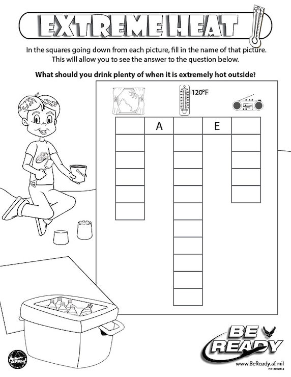 Activity Sheet on Extreme Heat for coloring ages 4-7