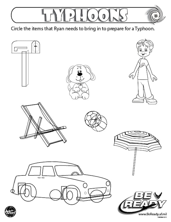 Activity Sheet Ages 4-7 on Typhoons for coloring