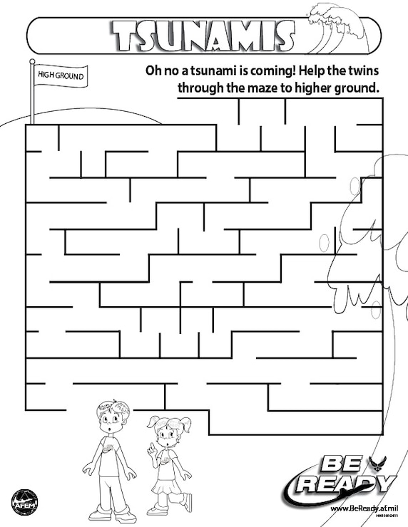 Activity Sheet Ages 4-7 on Tsunamis for coloring