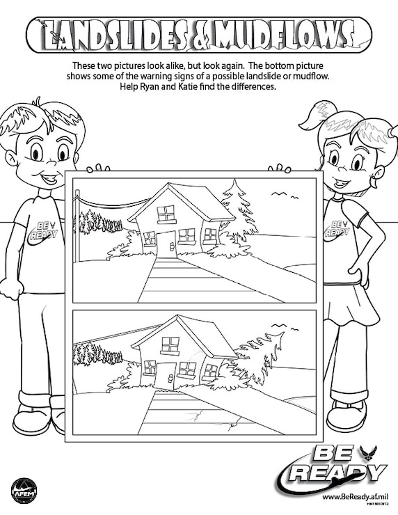 Activity Sheet Ages 4-7 on Landslide and Mudflows for coloring