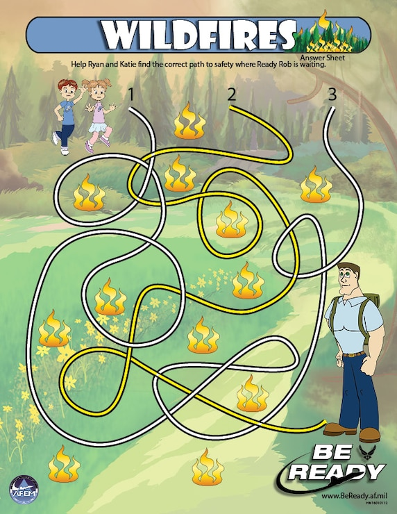Answers Sheet to the Wildfires Kid Sheet ages 4-7
