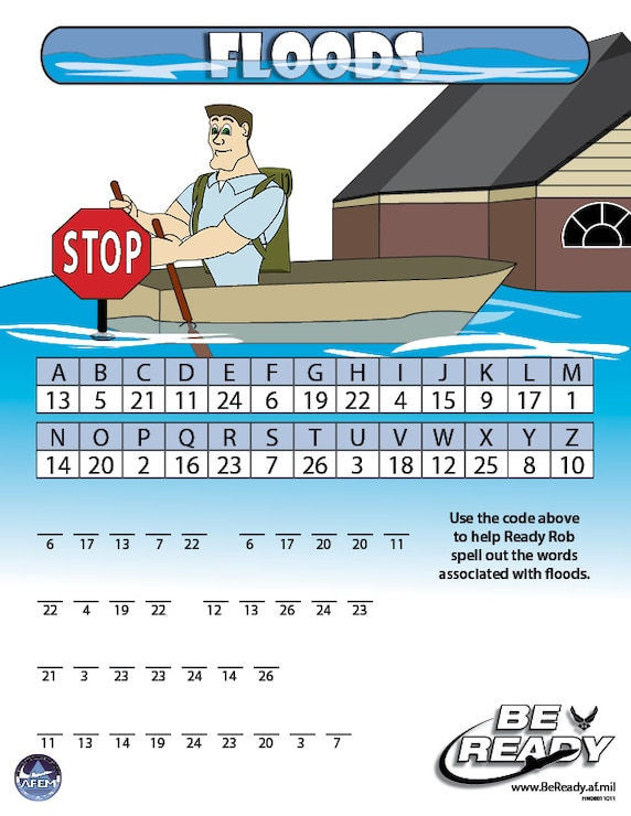 Activity Sheet Ages 4-7 on Floods