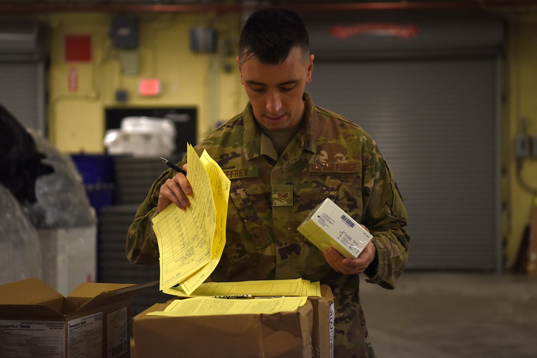 U.S. Air Force Staff Sgt. Gary Jeffrey, 81st Medical Support Squadron storage and distribution NCO in charge, inprocesses medical equipment inside Keesler Medical Center on Keesler Air Force Base, Mississippi, Sept. 11, 2019. Jeffrey was selected as one of the 12 Outstanding Airmen of the Year for 2018. (U.S. Air Force photo by Senior Airman Suzie Plotnikov)