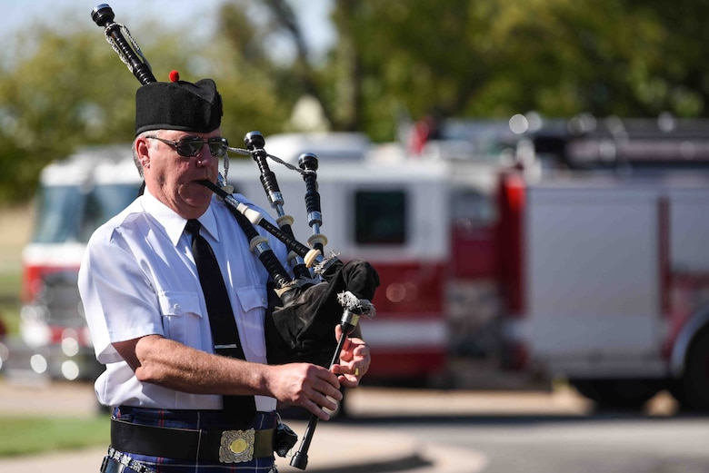 Jeff Fetter, Wichita Caledonian Pipes and Drums bagpiper, plays Amazing Grace during the Patriot Day Ceremony Sept. 11, 2019, at McConnell Air Force Base, Kan. The ceremony was held in honor of all the emergency first responders who gave their lives to save others on 9/11. (U.S. Air Force photo by Airman 1st Class Alexi Bosarge)