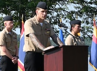 IMAGE: DAHLGREN. Va. (Sept. 11, 2019) – Navy chief select Cody Wilcoxson shares a story of heroism in response to the terrorist attacks and ensuing tragedies on 9/11. Wilcoxson was one of seven chief select 'heroism readers' based at commands located on Naval Surface Facility Dahlgren who recounted acts of heroism on that tragic day in our nation's history.
