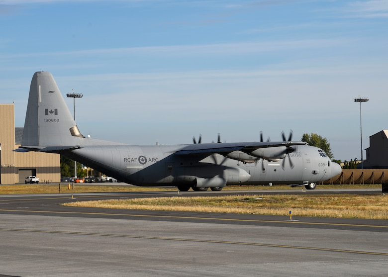 A Royal Canadian Air Force C-130J Hercules taxis down the flightline during exercise Mobility Guardian 2019 at Fairchild Air Force Base, Washington, Sept. 12, 2019. More than 4,000 personnel participated in or observed exercise Mobility Guardian, including Total Force Airmen, Joint, Combat Air Forces, and International Partners. (U.S. Air Force photo by Airman 1st Class Lawrence Sena)