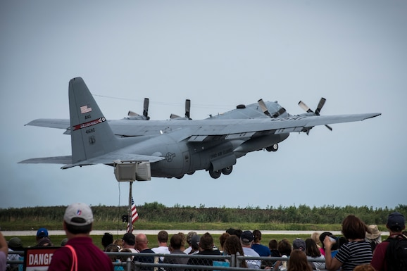 Photo of a C-130H Hercules performing at the Cleveland National Air Show, Cleveland, Ohio.
