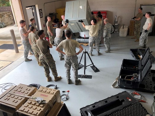 Airmen from the 25th Operational Weather Squadron (OWS) train on a Portable Doppler Radar with instructors from the 2nd Combat Weather Systems Squadron as part of a Deployed Weather Systems Training class Aug. 20, 2019, at Hurlburt Field, Florida. The class was comprised entirely of 25th OWS Airmen as 557th Weather Wing units are being tasked to execute a greater number of deployment requirements. (U.S. Air Force photo by Staff Sgt. Joshua-James Patrick)