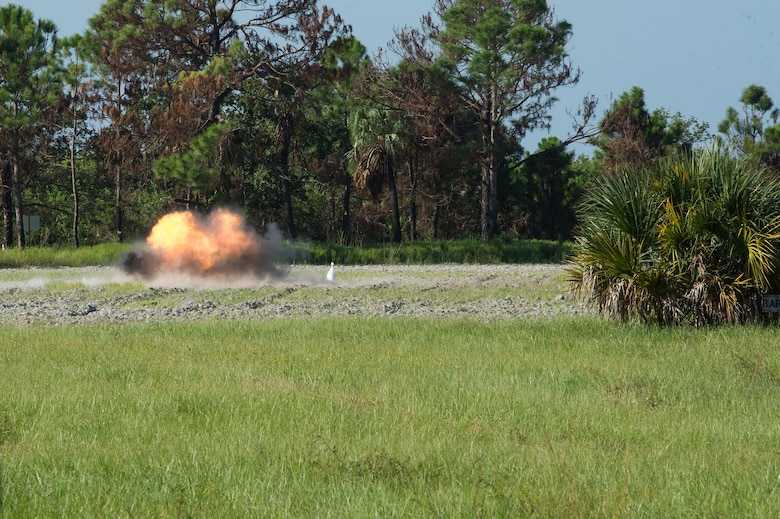 An explosive device detonates during a training organized by the 6th Civil Engineer Squadron Explosive Ordnance Disposal Flight for local Transportation Security Administration officers, Sept. 11, 2019, at MacDill Air Force Base, Fla.  (U.S. Air Force photo by Airman 1st Class Shannon Bowman)