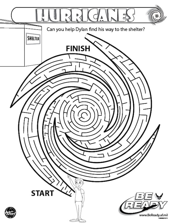 Activity Sheet on Hurricanes for Coloring Ages 8-12