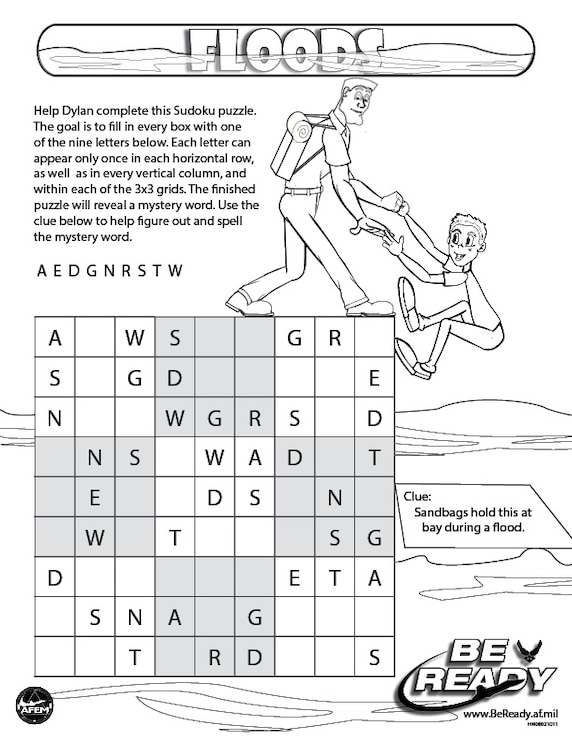 Activity Sheet on Floods for Coloring Ages 8-12
