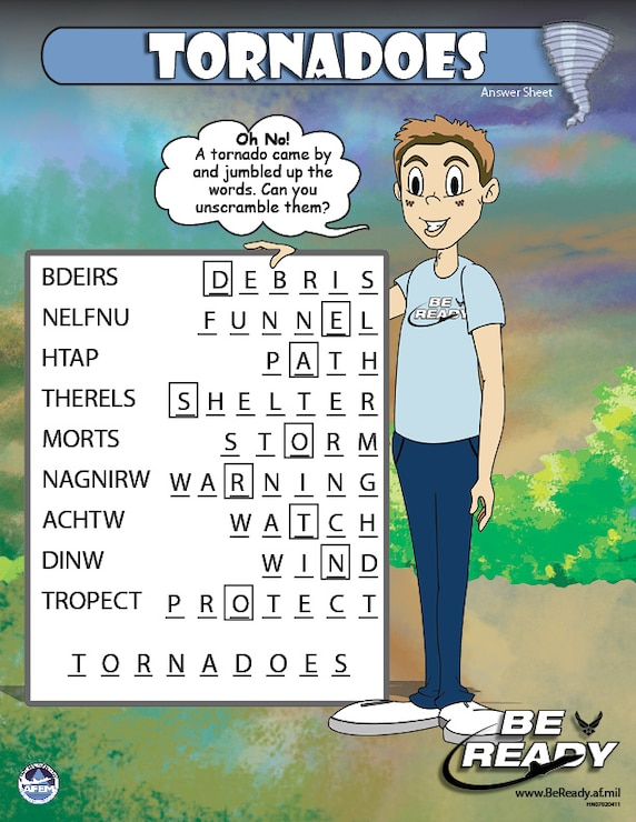 Answers Sheet to the Tornadoes Preteen Sheet for ages 8-12