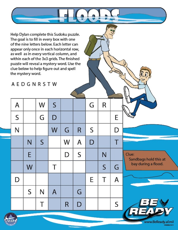 Activity Sheet on Floods Ages 8-12