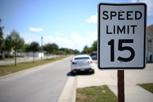 A speed limit sign is displayed in the Bayridge base housing area on Keesler Air Force Base, Mississippi, September 10, 2019. The 81st Security Forces Squadron has recently started making efforts to crackdown on base speeding amidst concerns brought up during the Keesler Housing Forum. (U.S Air Force photo by Airman 1st Class Spencer Tobler)