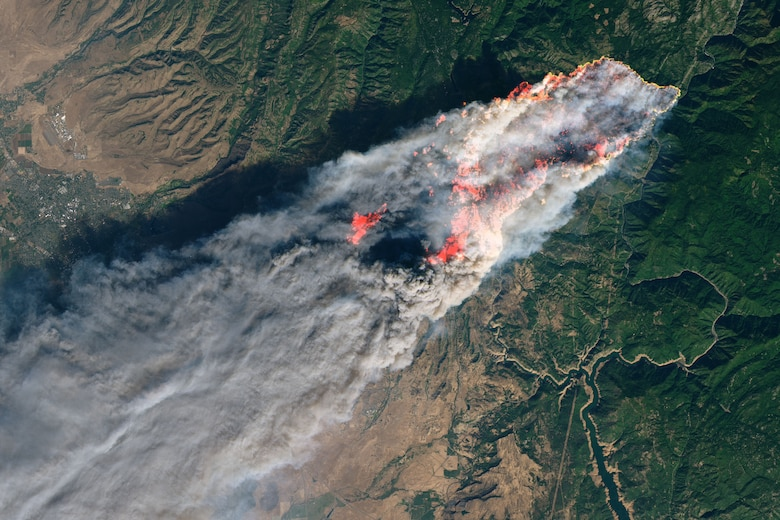 Earth observation data from Landsat 8 was used to create this NASA image of the Camp Fire as it burned near Paradise, Calif. Nov. 8, 2018. The U.S. Air Force provided data from some of its Overhead Persistent Infrared systems to assist the U.S. Forest Service fight this fire, demonstrating the dual military/civil use of OPIR, which primarily serves as the nation's space-based missile early warning system.