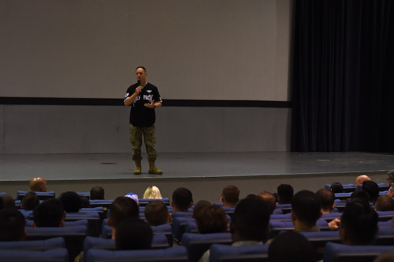 U.S. Air Force Col. Tad Clark, 8th Fighter Wing Commander, speaks at a forum during the Resilience Tactical Pause capstone event at Kunsan Air Base, Republic of Korea, Sept. 13, 2019. During the event, Clark talked about some of the hardships he has had to face in both his personal life and military career. (U.S. Air Force photo by Staff Sgt. Joshua Edwards)