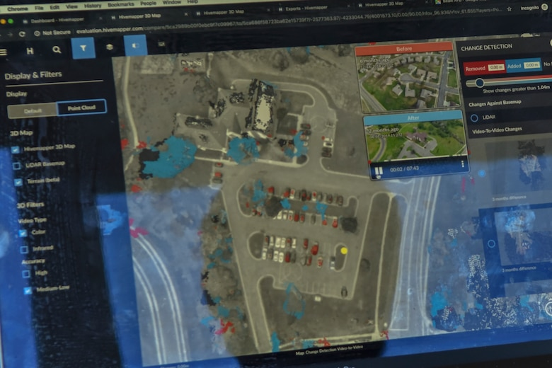 A map is shown depicting drone imagery capabilities at the Hivemapper software company in San Francisco, California, June 4, 2019. Beale is currently the first base to beta-test the Hivemapper program, a drone capability that records and senses change detection. (U.S. Air Force photo by Tech. Sgt. Veronica Montes)