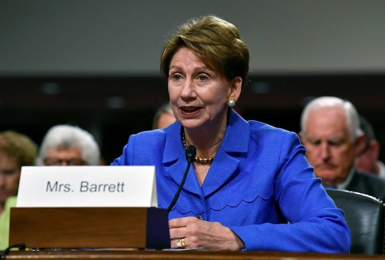 Barbara Barrett, Secretary of the Air Force nominee, testifies before the Senate Armed Services Committee, as a part of the confirmation process, Sept. 12, 2019, in Washington, D.C. (U.S. Air Force photo by Wayne Clark)
