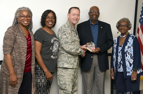 72ABW Commander presents award to Tinker Military Retiree Activities Volunteer of the Year to J.D. Miller.