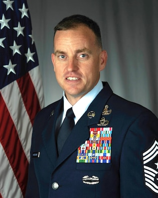 Chief Master Sgt. Jeremy Unterseher, 435th Air Ground Operations Wing and 435th Air Expeditionary Wing command chief. (U.S. Air Force photo by 86th Airlift Wing Public Affairs)