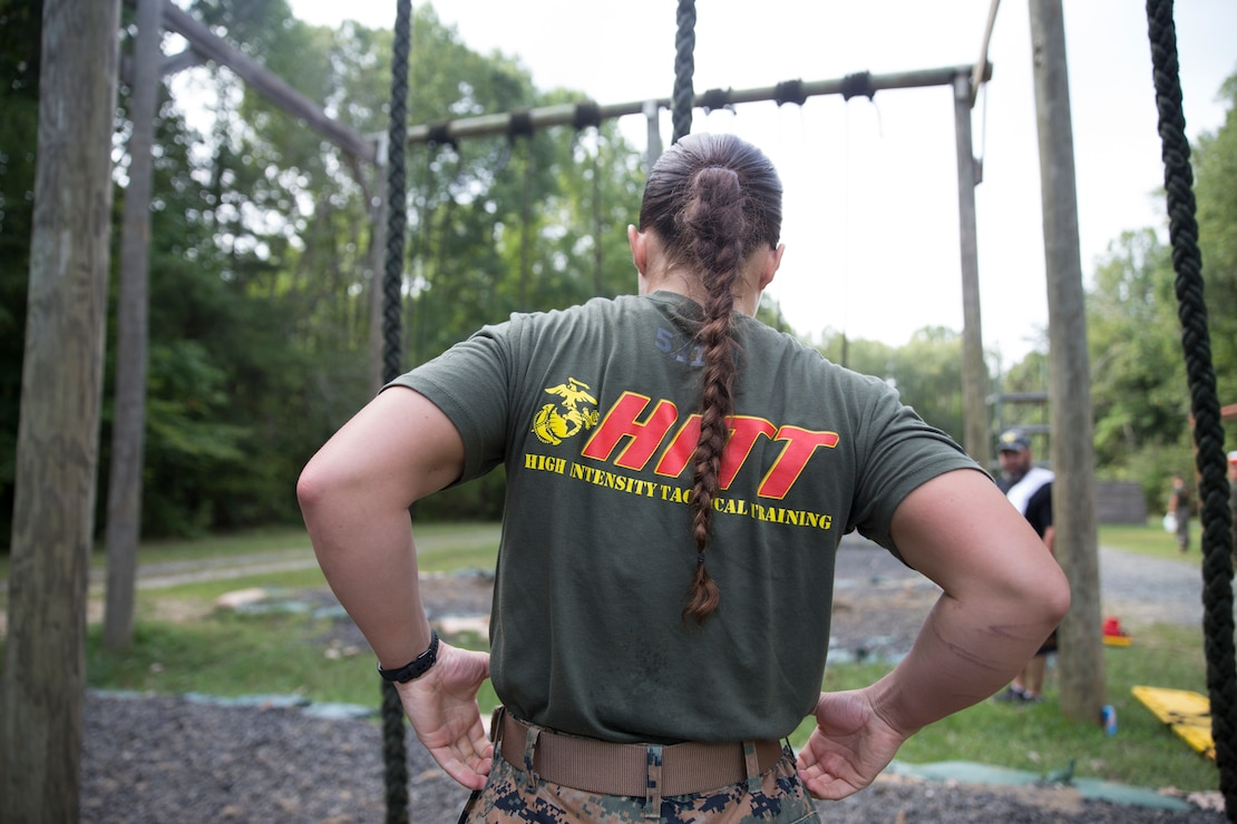 A U.S. Marine prepares to climb a rope during the High Intensity Tactical Training Tactical Athlete Championship at Marine Corps Base Quantico, Va., Sept. 10, 2019. Marines from all over the Marine Corps compete to become the Ultimate Tactical Champion by testing their speed, agility, power, strength and endurance during the HITT Tactical Athlete Championship.