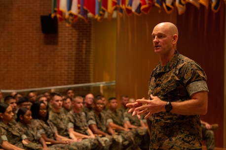 Sergeant Major of the Marine Corps Sgt. Maj. Troy E. Black speaks to Marines and Sailors with U.S. Marine Corps Forces Command (MARFORCOM) at a town hall Sept. 9, 2019, at Joint Forces Staff College on Naval Support Activity Hampton Roads, Norfolk, Virginia. Black visited MARFORCOM during a tour of Marine Corps installations to discuss the Commandant's Planning Guidance and the future of warfare, and to answer Marines' questions. (U.S. Marine Corps photo by Sgt. Jessika Braden/Released)