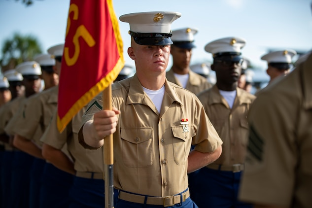 A native of Saluda, South Carolina, graduated from Marine Corps recruit training as the company honor graduate of Company L, 3rd Recruit Training Battalion, Sept. 13, 2019.