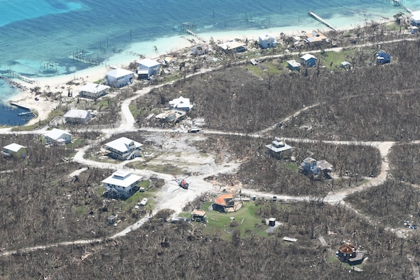 Ariel shot of damaged homes in the Bahamas.