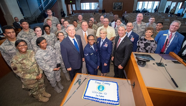 The San Antonio City Council helps celebrate the Air Force's 72nd Birthday with the 502nd Air Base Wing and Joint Base San Antonio at City Hall Sept. 12.