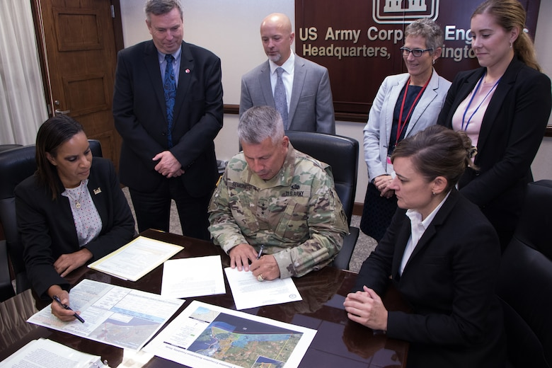 Lt. Gen. Todd T. Semonite, USACE Commanding General and 54th U.S. Army Chief of Engineers, signed the recommended plan to support efforts to improve, preserve and sustain ecological resources along the Texas coast Sept. 12, 2019. The signing of the Jefferson County Ecosystem Restoration Project Chief's Report progresses the project to Congress for authorization. (Photo by Philipp Tintner)