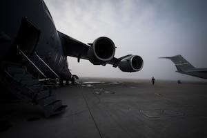 U.S. Air Force Capt. conducts a preflight walk-around