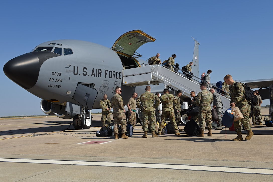 Fairchild Air Force Base Airmen unload cargo from a KC-135 Stratotanker at Moron Air Base, Spain, Sept. 7, 2019, in support of Operation Juniper Micron. OJM is an counterterrorism operation stemming from a long-standing relationship between the U.S. and French governments dating back to 2013. (U.S. Air Force photo by Staff Sgt. Nick J. Daniello)