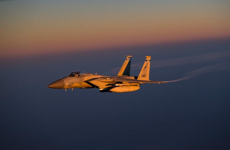 A U.S. Air Force F-15C Eagle conducts a combat air patrol